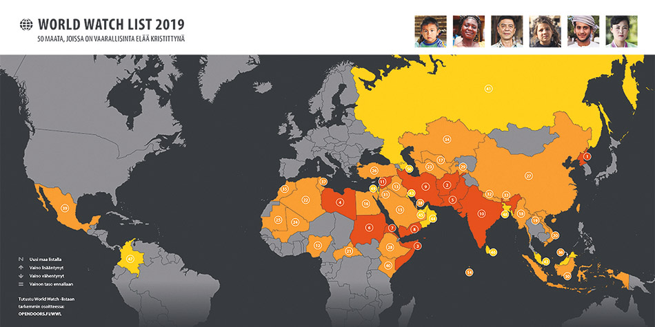 World Watch List 2019: Joka 9. kristitty kokee vakavaa vainoa